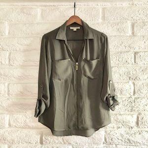 Michel Kors Half Zip Olive Green Shirt
